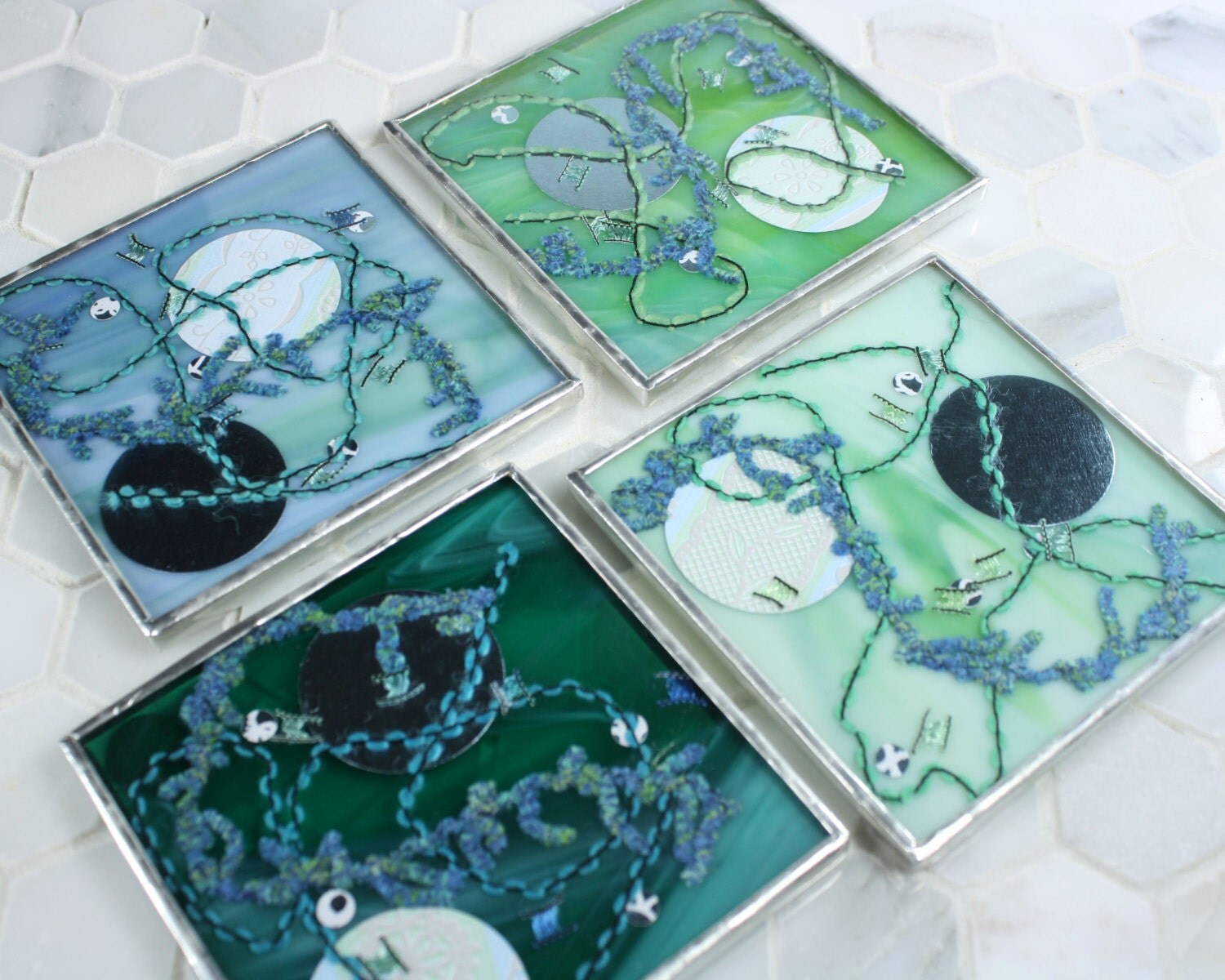 Best Glass Coasters For Drinks Kitchen Decor Multicolored Glass This Month