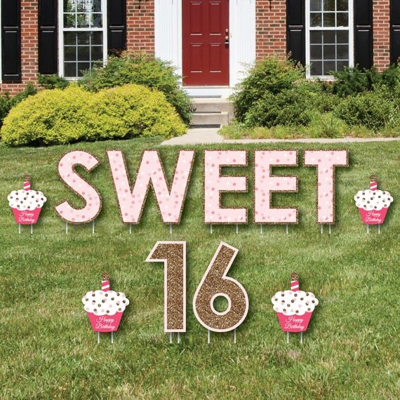 Best Sweet 16 Yard Sign Outdoor Lawn Decoration Girl 16Th This Month
