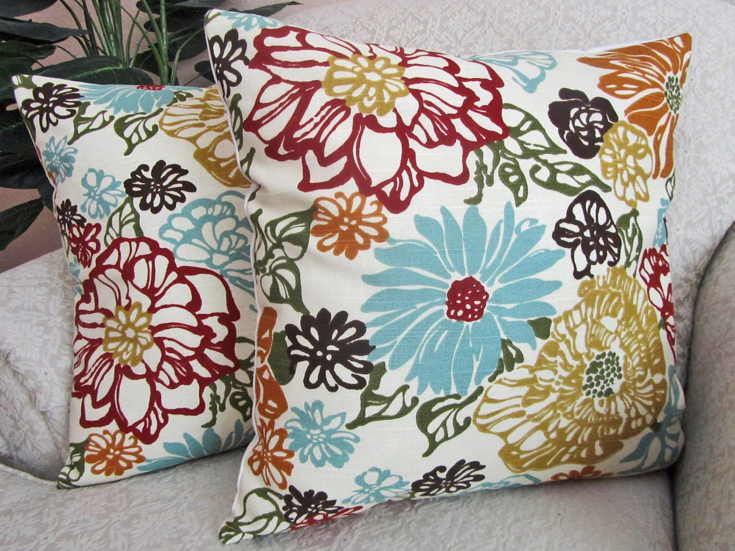 Best Floral Throw Pillow Cover Decorative Pillow Robins Egg Blue This Month