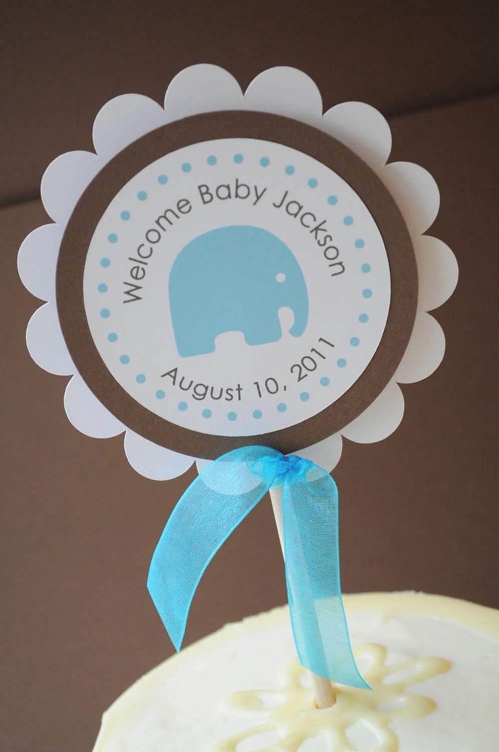 Best Boy Baby Shower Cake Topper Elephant Theme Personalized With This Month