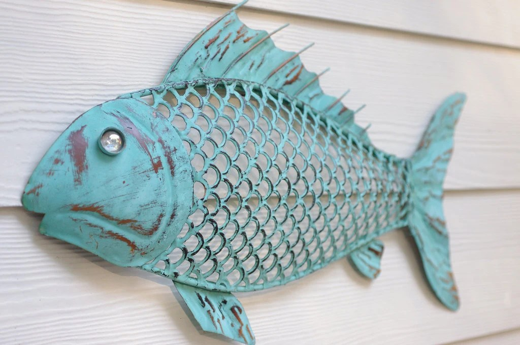 Best Beach Wall Decor Metal Fish Blue Green Patina This Month