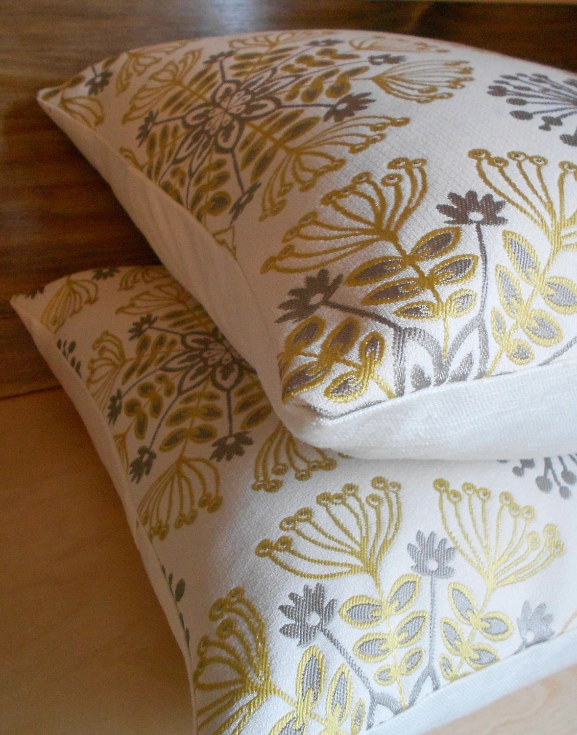 Best Pair Of Pillows Yellow And Gray Floral Medallion Decorative This Month