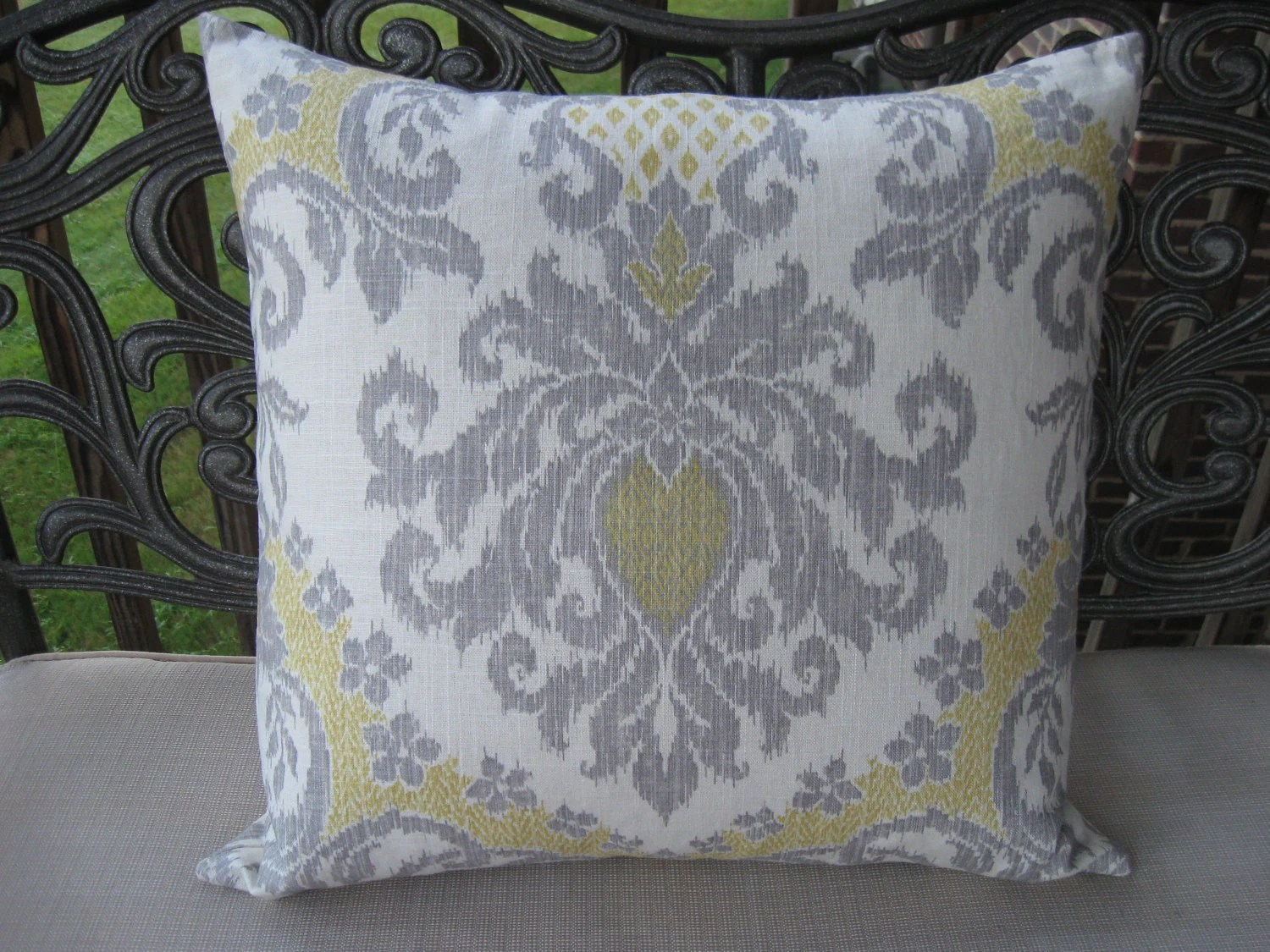 Best Decorative Pillow Cover Yellow And Grey 22X22 Ikat This Month