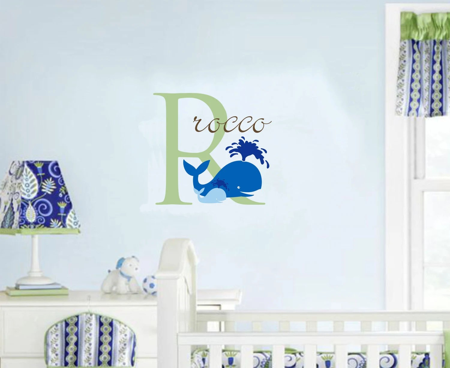 Best Wall Decal Baby Boy Nursery Name Whale Ocean By This Month