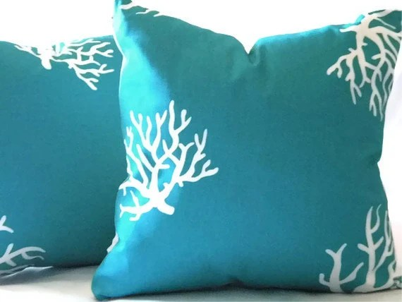 Best Decorative Turquoise Coral Pillow Cover Indoor By Micablue This Month