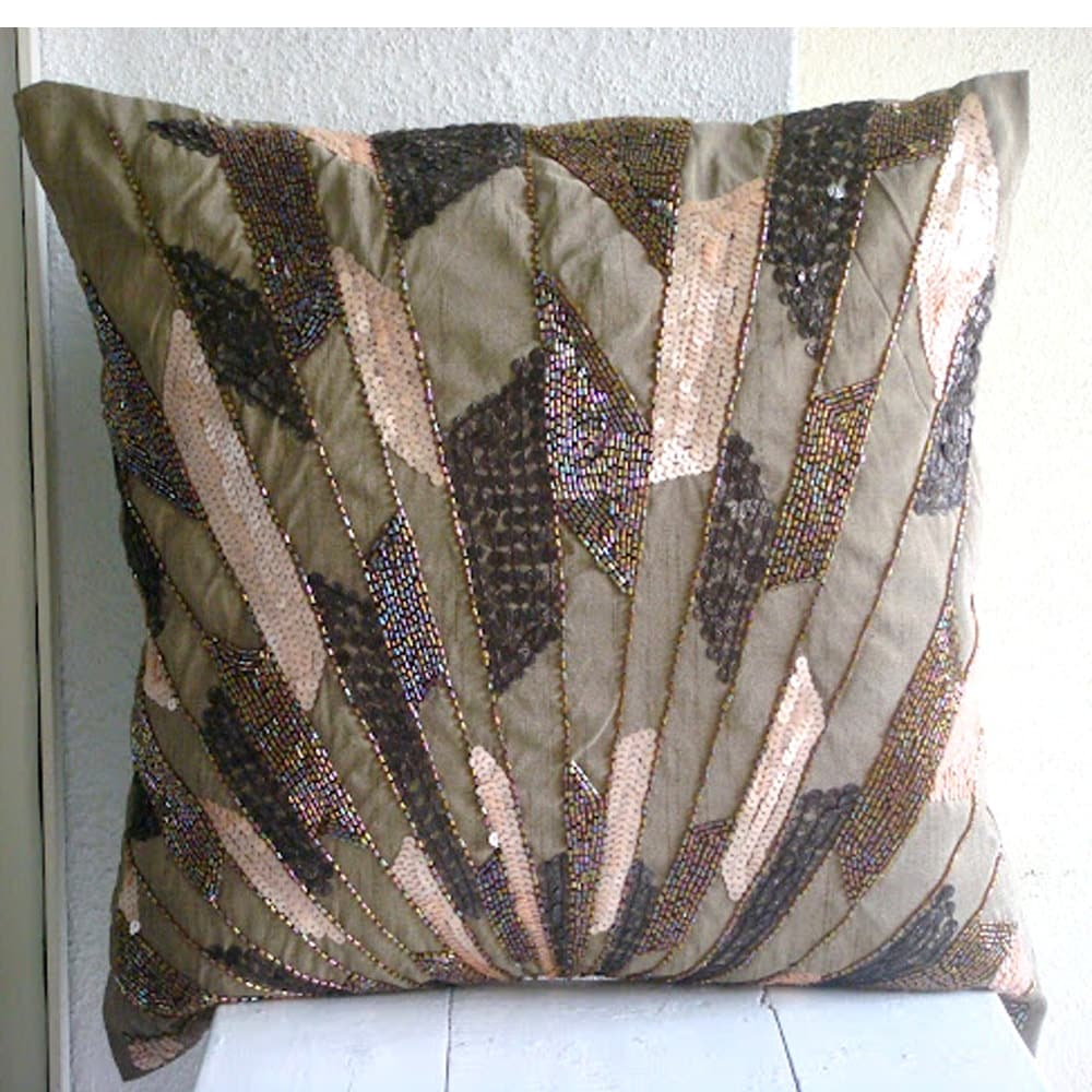 Best Brown Throw Pillows Cover For Couch Square Sequins Beaded This Month
