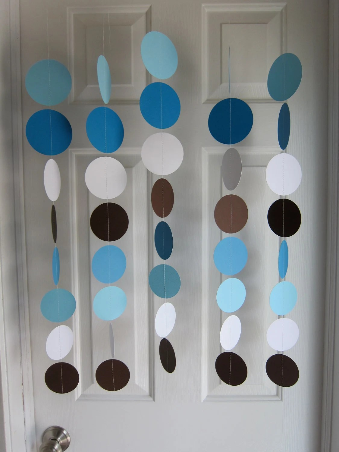 Best Paper Garland Blue Brown And White Circles Dangling This Month