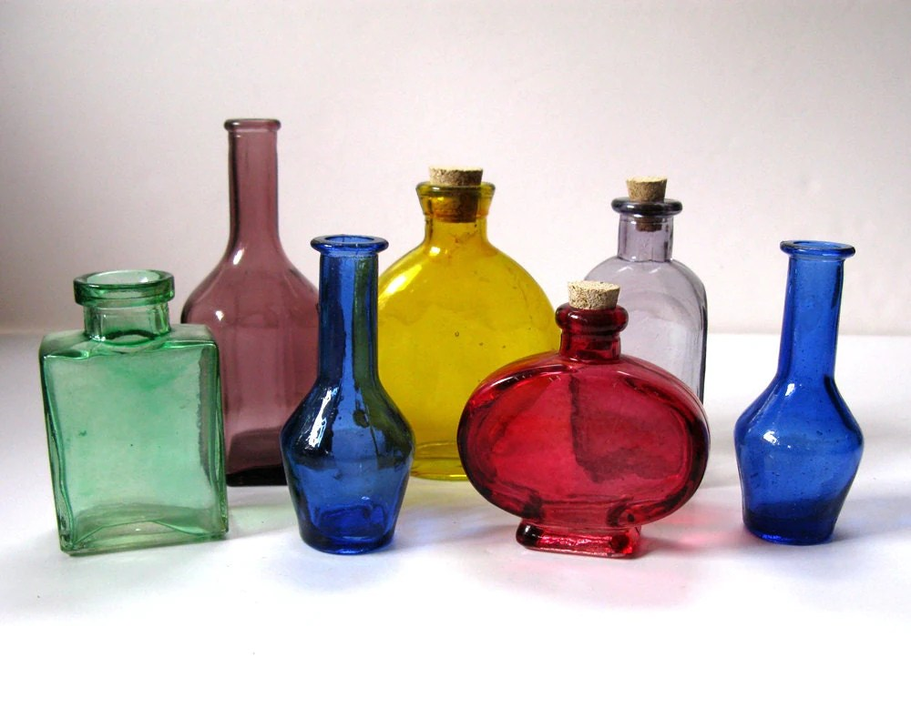 Best Vintage Mini Colored Glass Decorative Bottles Green Red This Month