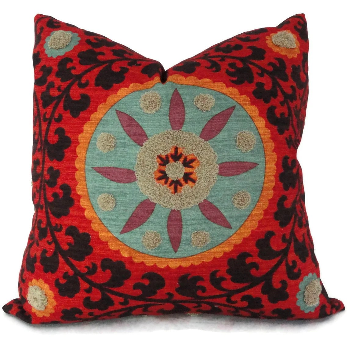 Best Colorful Tufted Tribal Suzani Decorative Pillow Cover 18X18 This Month