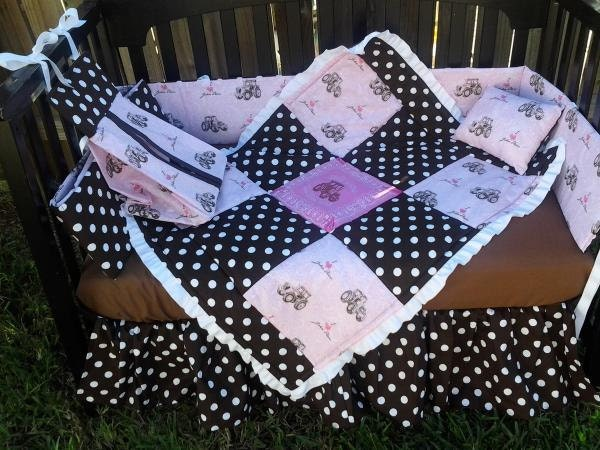 Best New Pink John Deere Baby Girl Crib Bedding Set With Polka Dot This Month