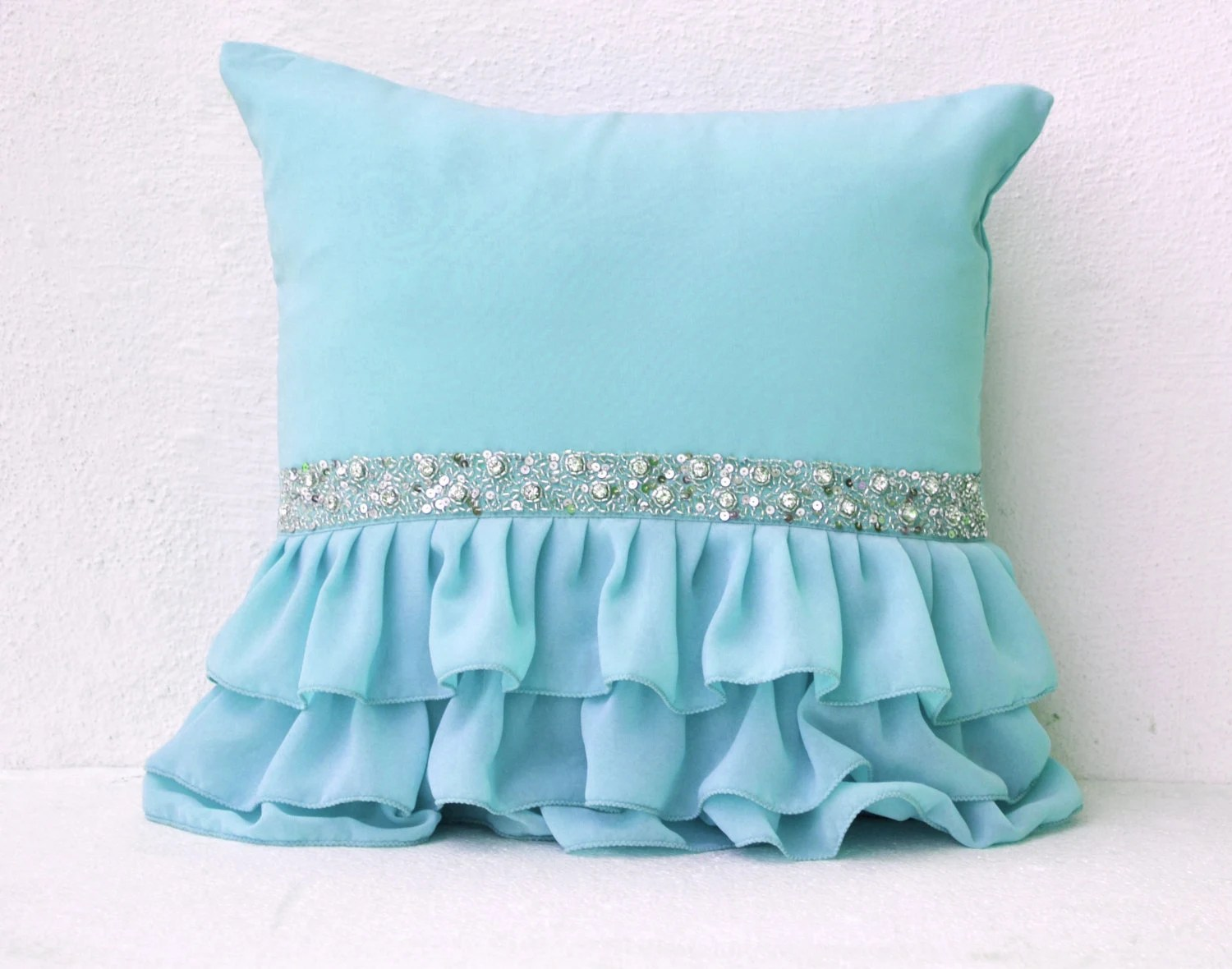 Best Sky Blue Ruffled Decorative Pillow With Sequin Light Blue This Month