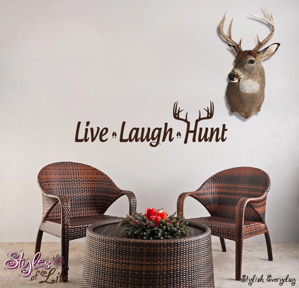 Best Live Laugh Hunt Deer Antler Wall Decor Wall Words Decal This Month