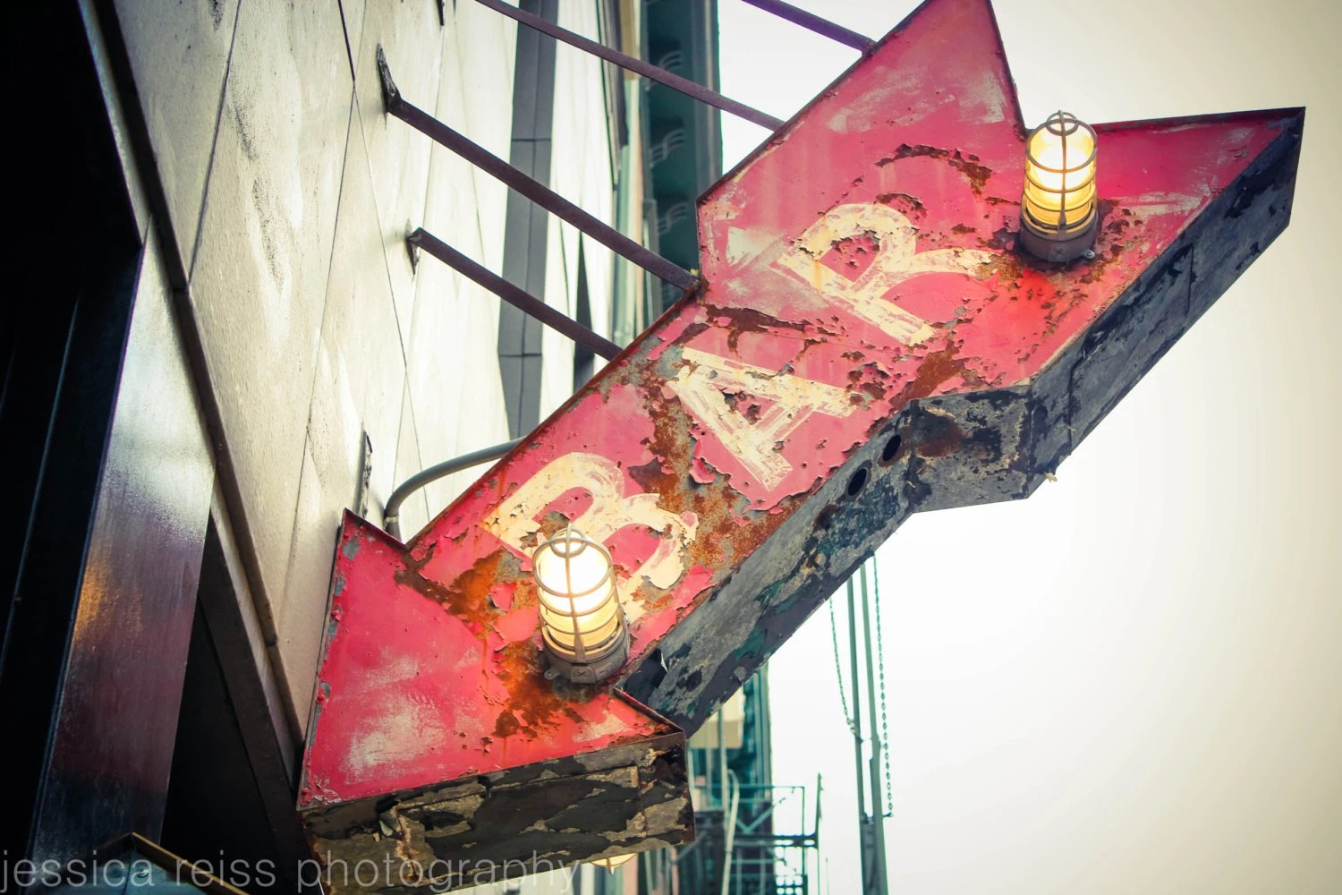 Best Red Bar Sign Art Print Bar Decor Photograph Vintage Rustic This Month