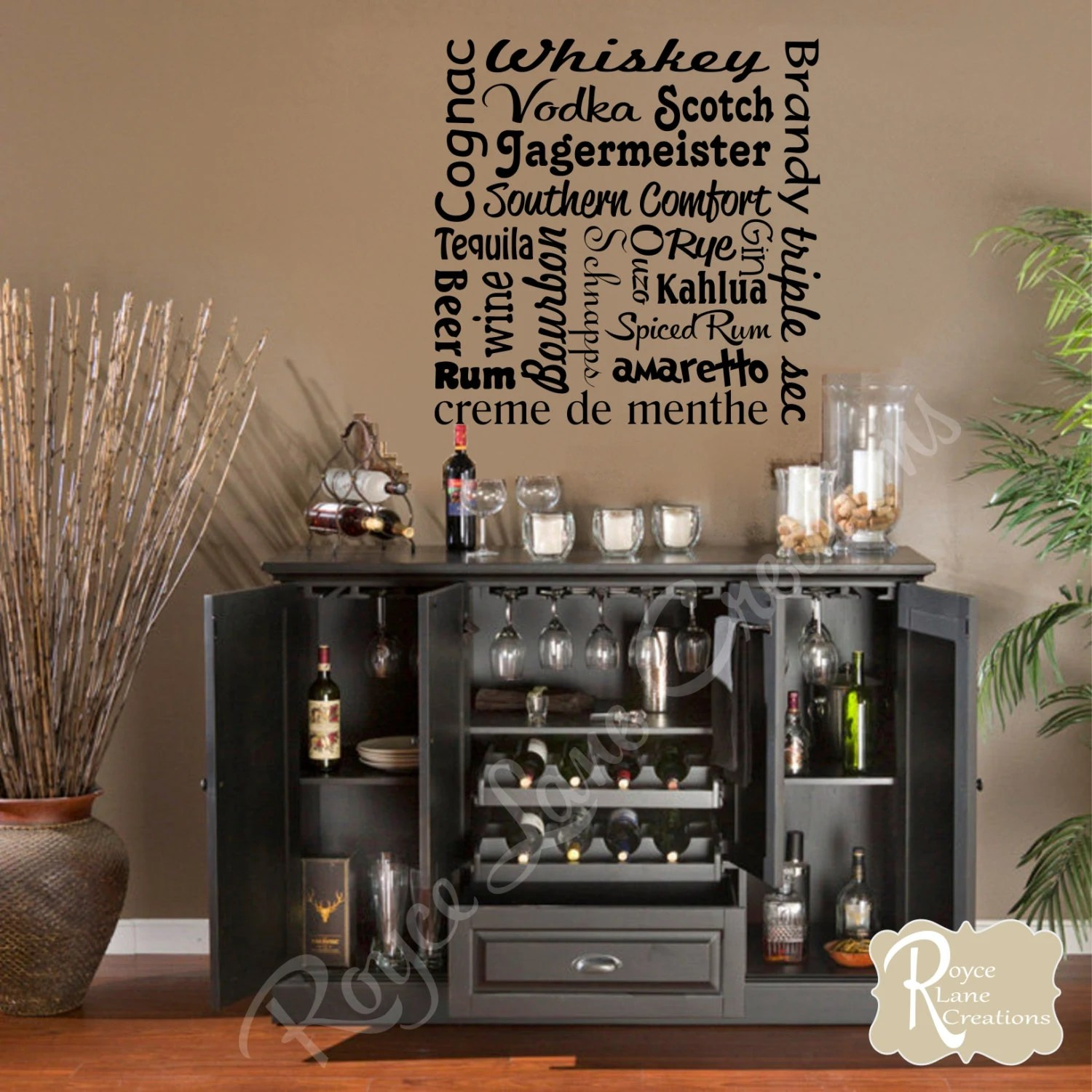 Best Bar Wall Decal Liquor Names Word Art Bar Wall Decor Bar Art This Month