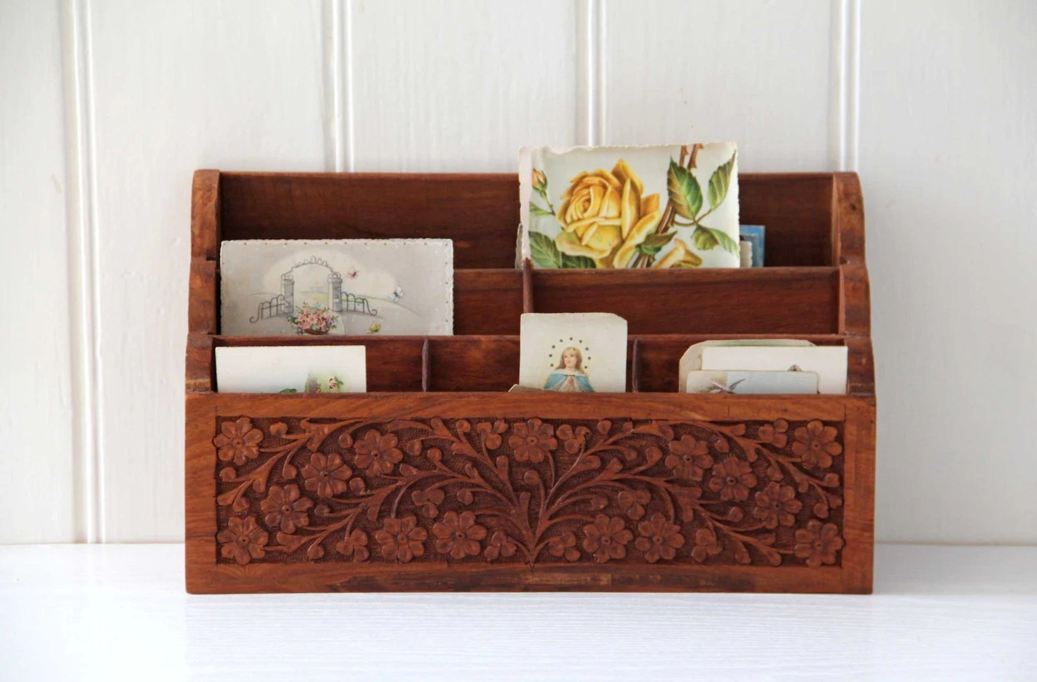 Best Carved Wooden Desk Organizer Office Decor Mail Storage This Month