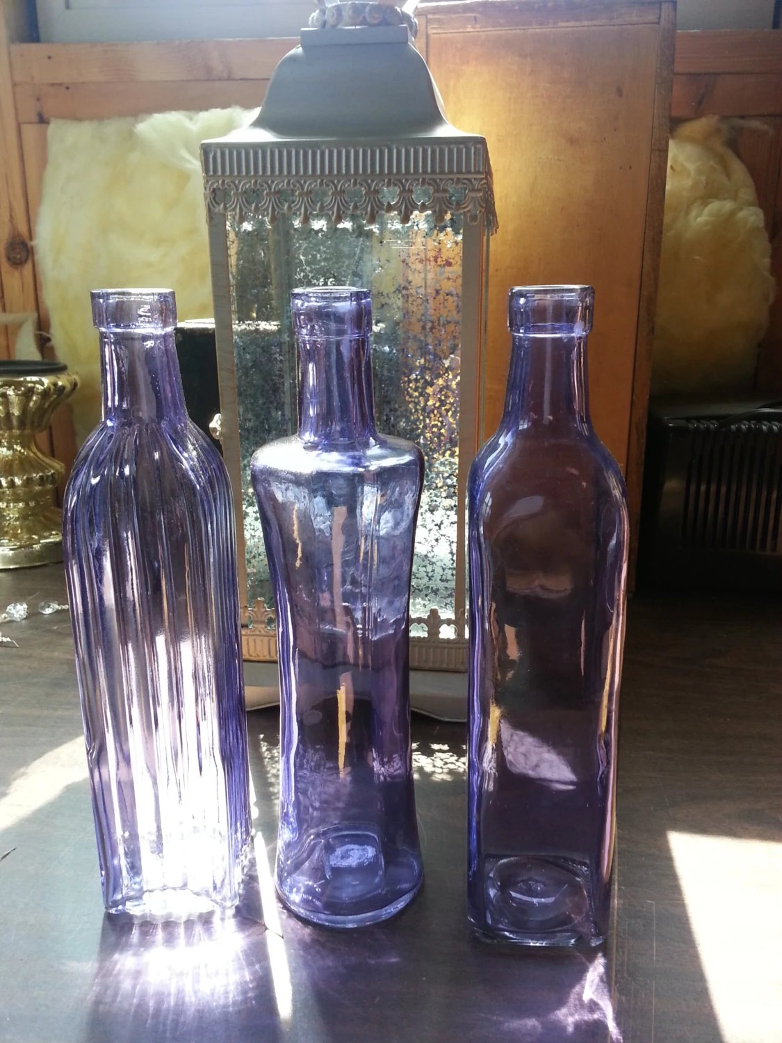 Best Purple Decorative Colored Glass Bottles Floral By This Month