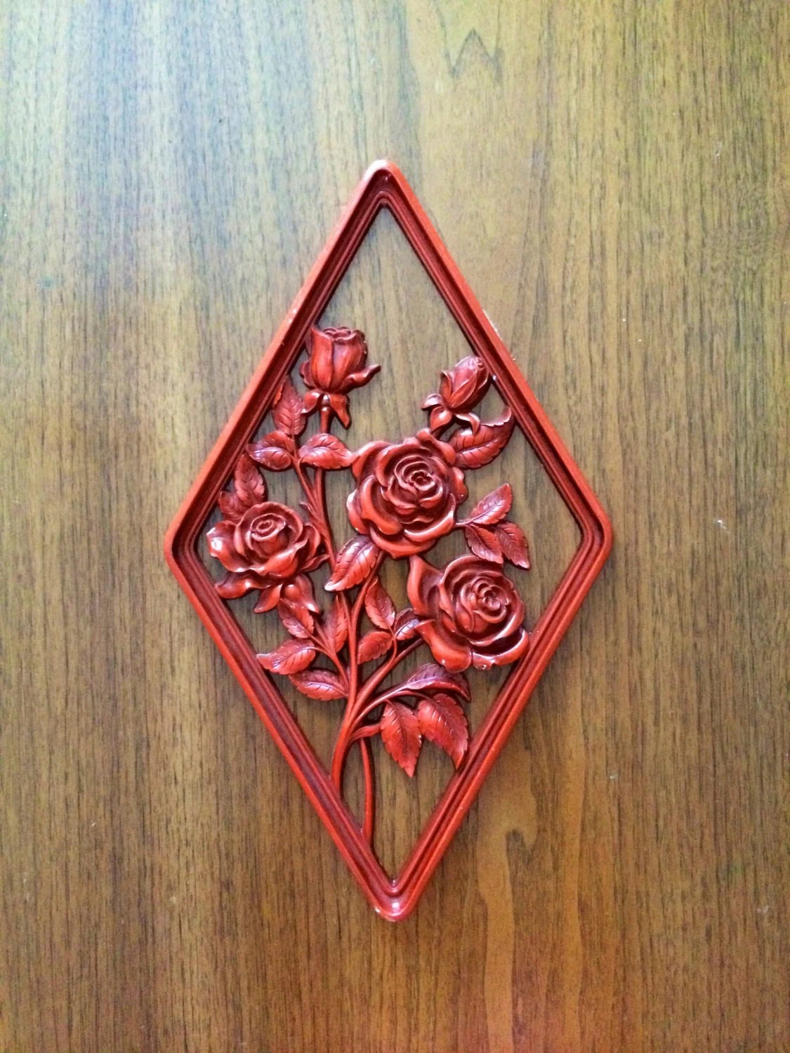 Best Vintage Wall Decor Orange Syroco Diamond Shaped Wall Hanging This Month