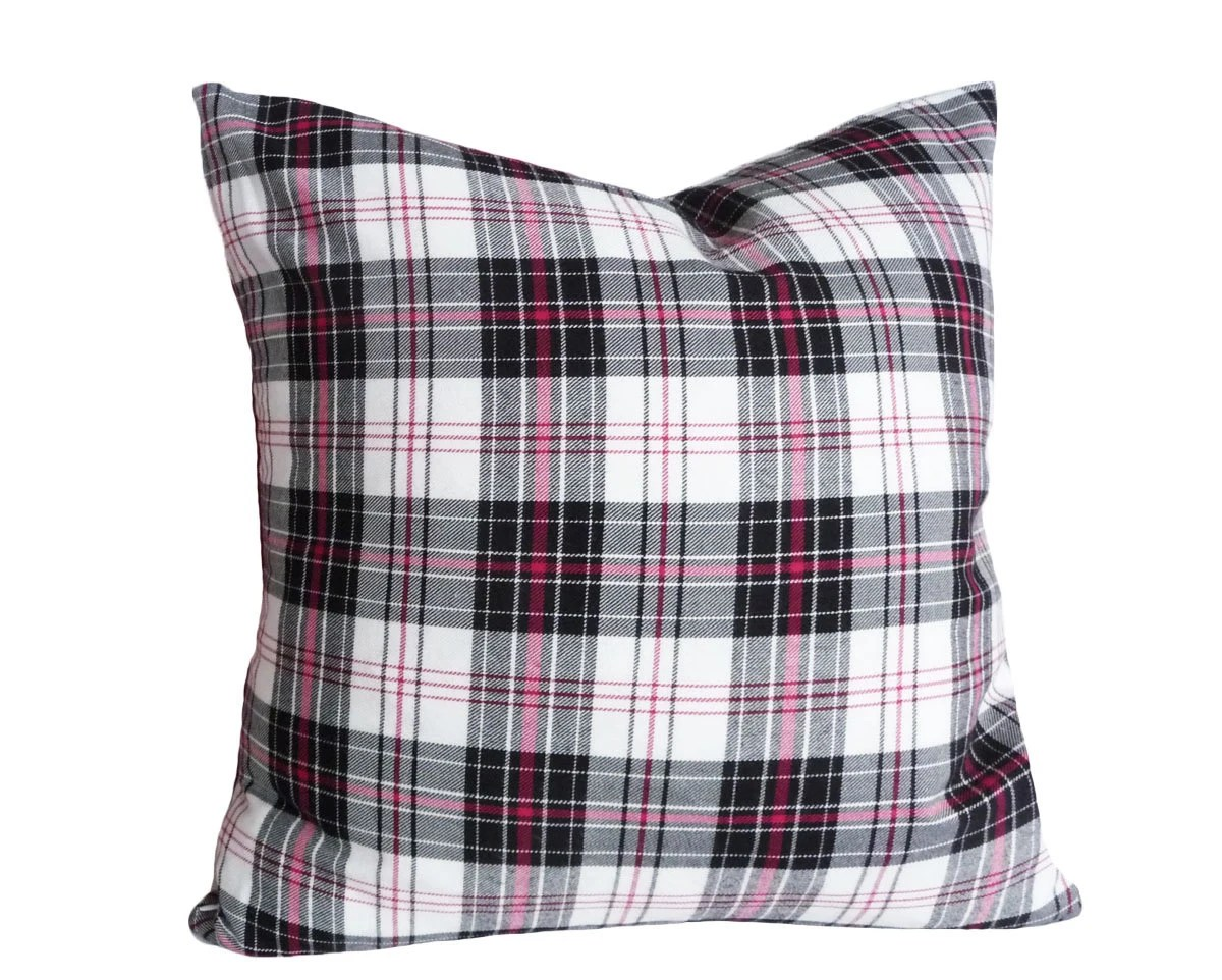 Best Black White Pink Plaid Pillow Girls Plaid Pillows Black This Month