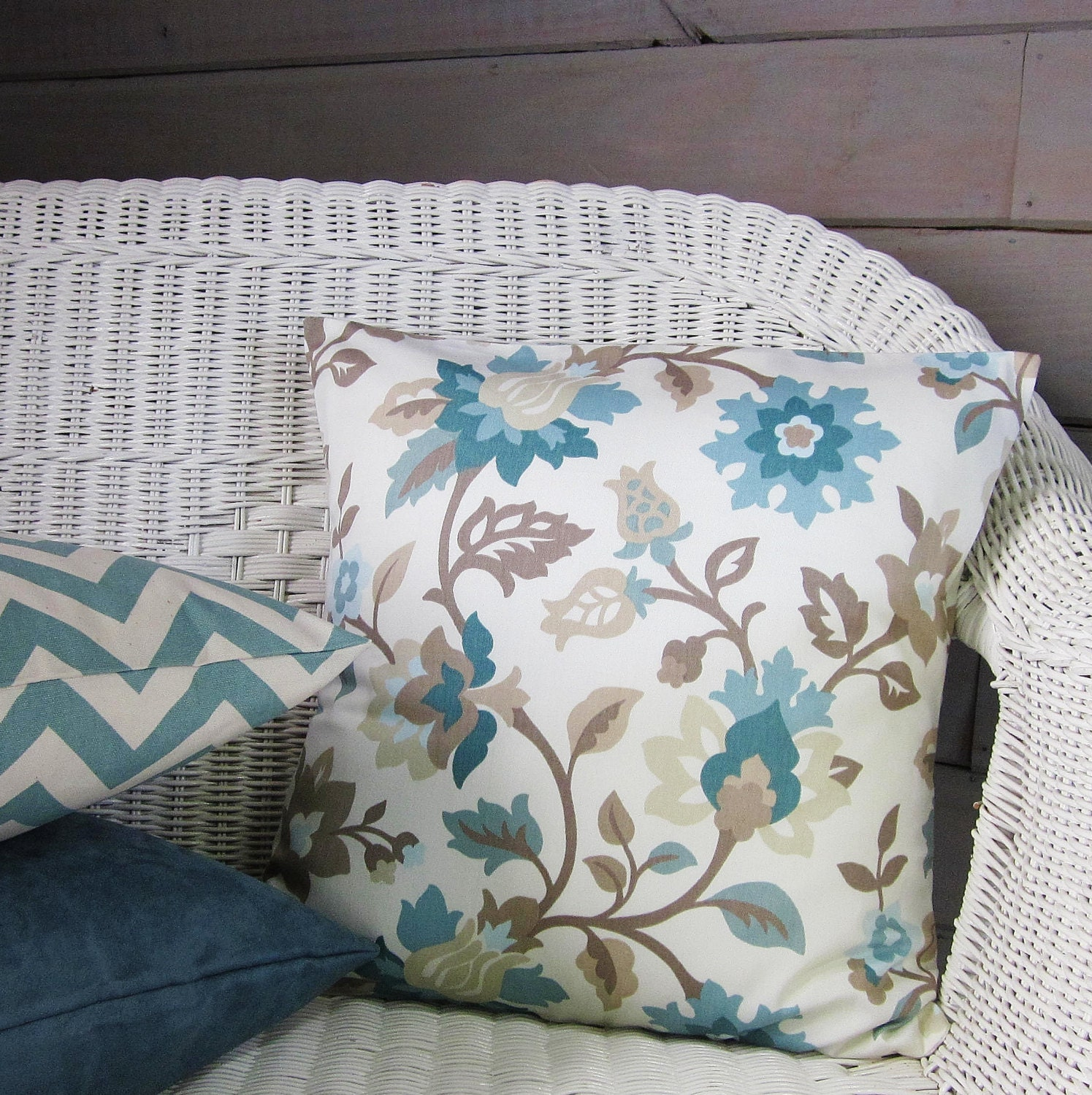 Best Teal Aqua Seafoam Pillow Cover Taupe Floral Home Decor This Month