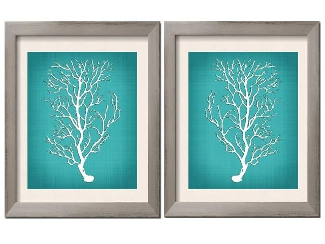Best Beach House Decor Teal Wall Art Teal Art Teal White Teal This Month