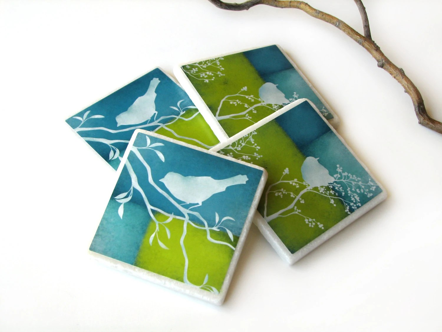 Best Lime Green Blue Decorative Tile Coasters Set Of 4 Bird On This Month