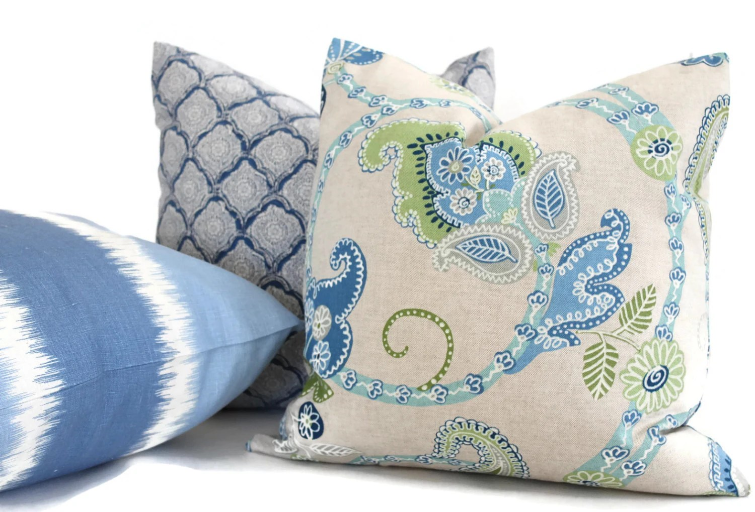 Best Aqua And Gray Jacobean Decorative Pillow Cover Square By This Month