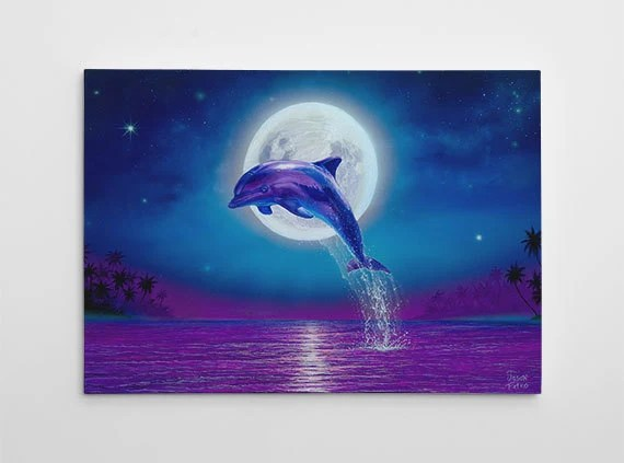 Best Dolphin Wall Decor Dolphin Canvas Art Large Beach Painting This Month