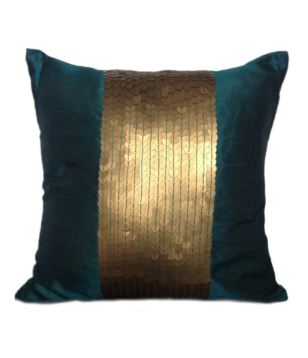Best Teal Decorative Pillow Cover Teal Gold Sequin Pillow This Month