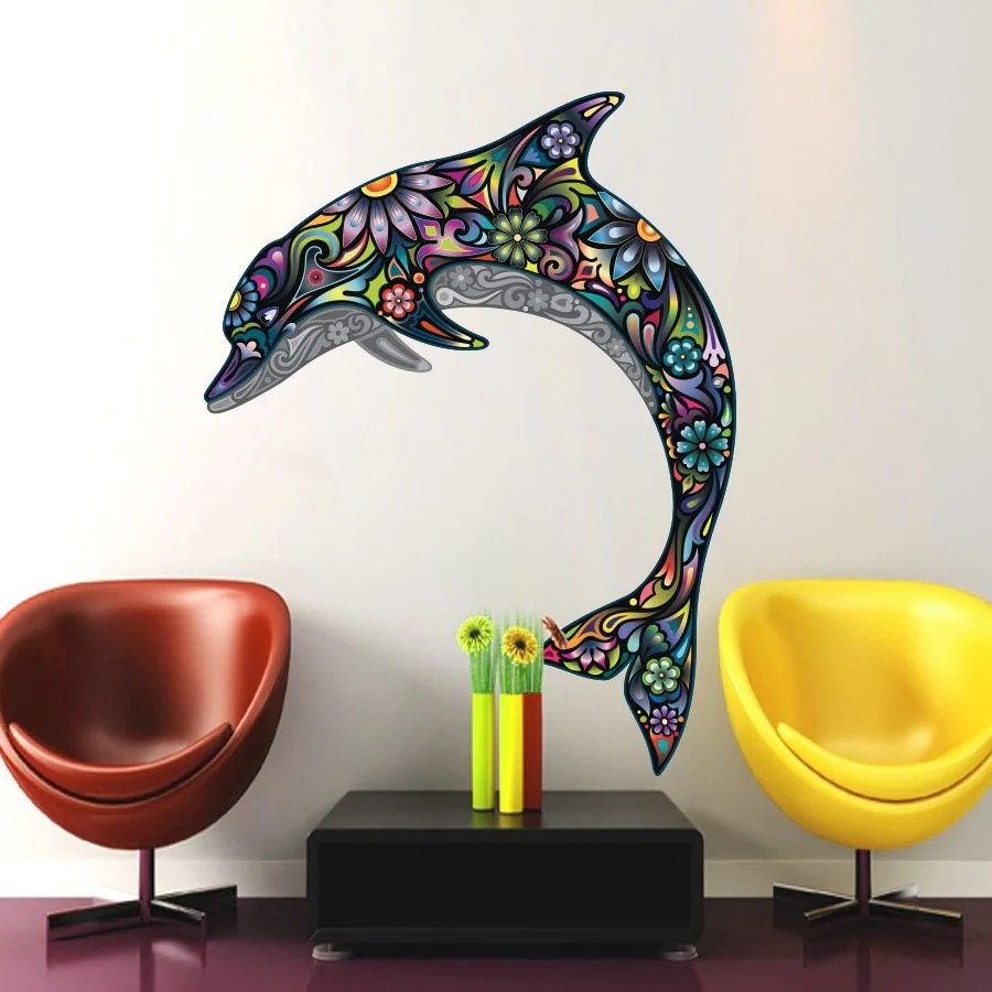 Best Abstract Dolphin Wall Decals Full Color Dolphin Decal Colorful This Month