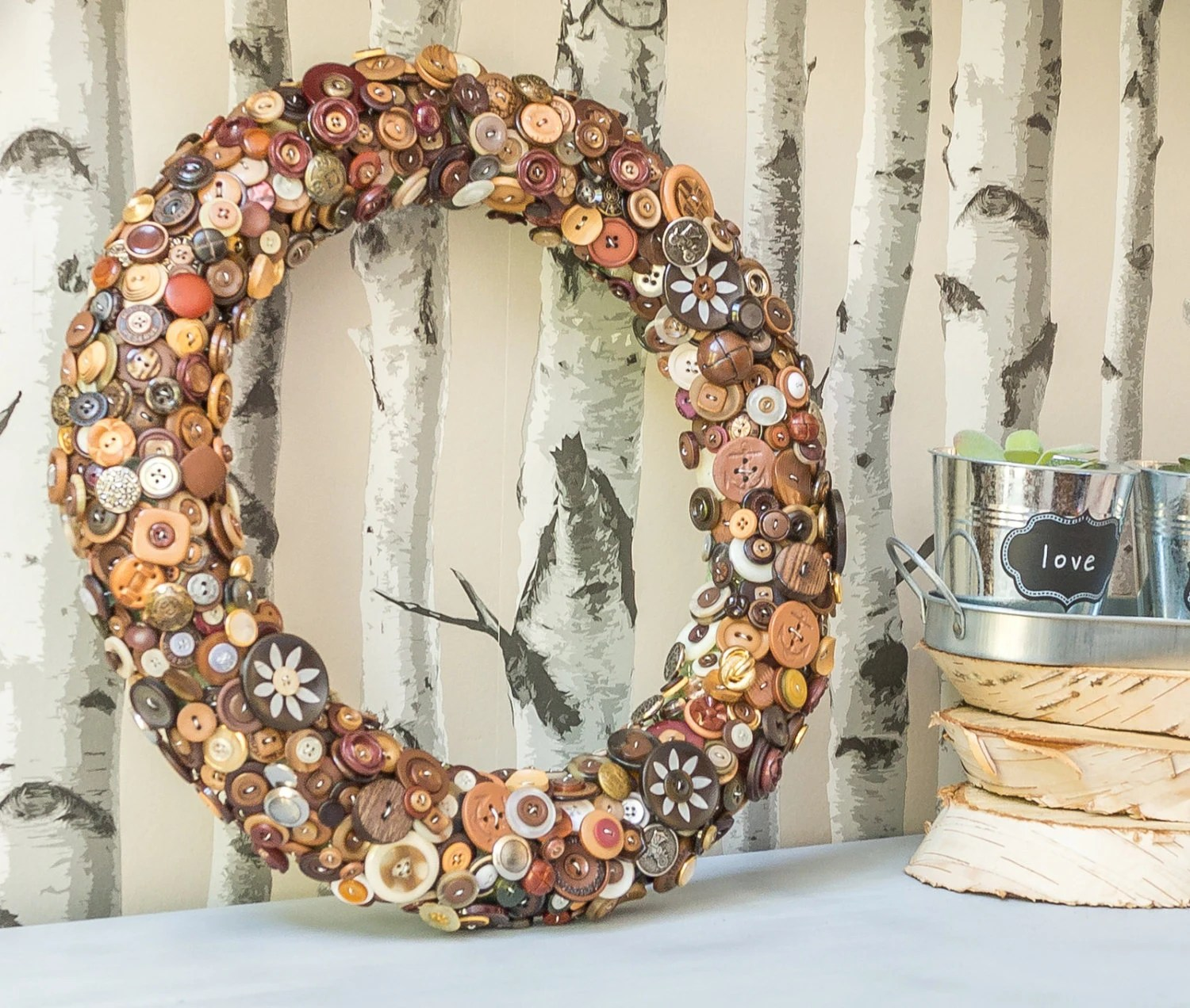 Best Brown Button Wreath Rustic Home Decor Decorative Wreath This Month