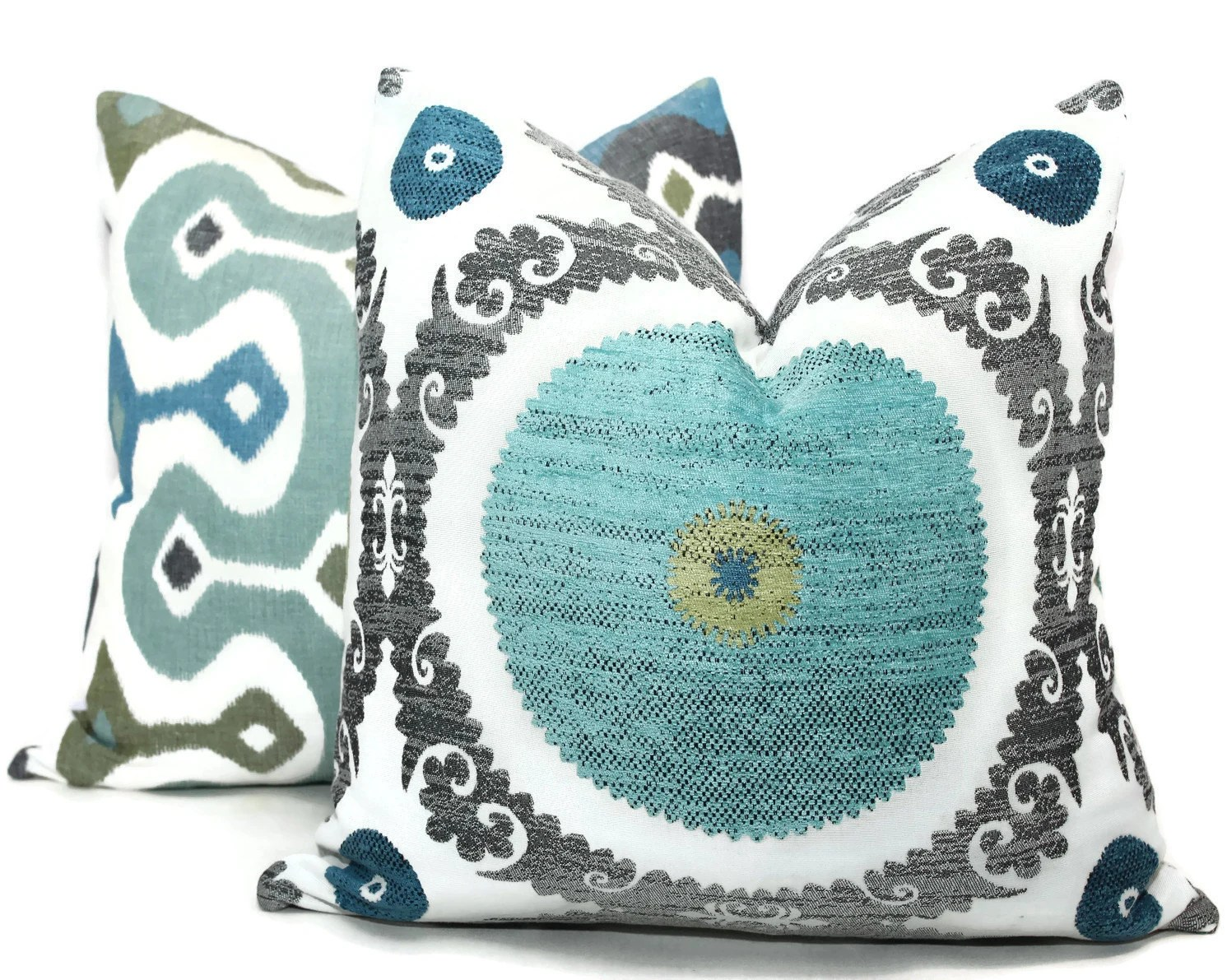 Best Decorative Pillow Cover Turquoise Green Black Suzani Pillow This Month