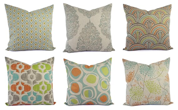Best Decorative Pillow Orange Blue And Beige Throw Pillow Green This Month