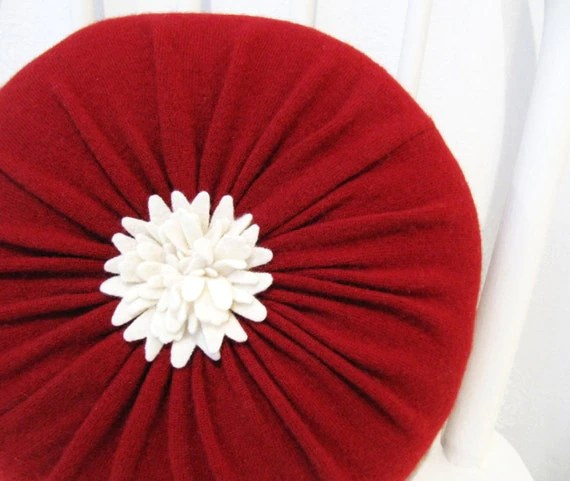 Best Red Cashmere Round Flower Throw Pillow Accent By Mmwolters This Month