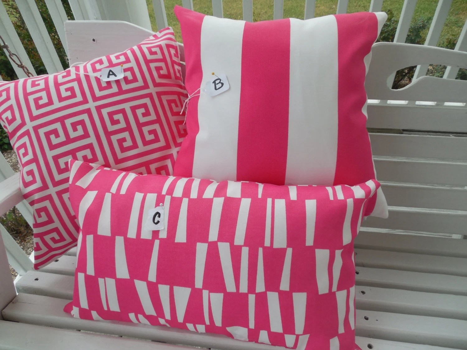 Best Preppy Pink Outdoor Pillow Cover Hot Pink White Patio Porch This Month
