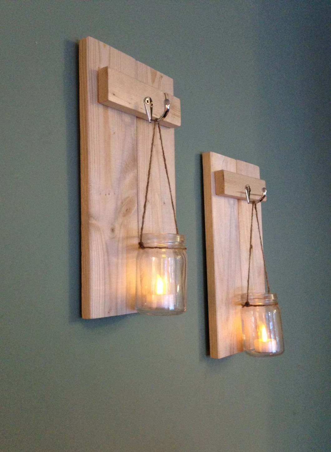 Best Mason Jar Sconce Rustic Wall Decor Wooden Candle Holder This Month