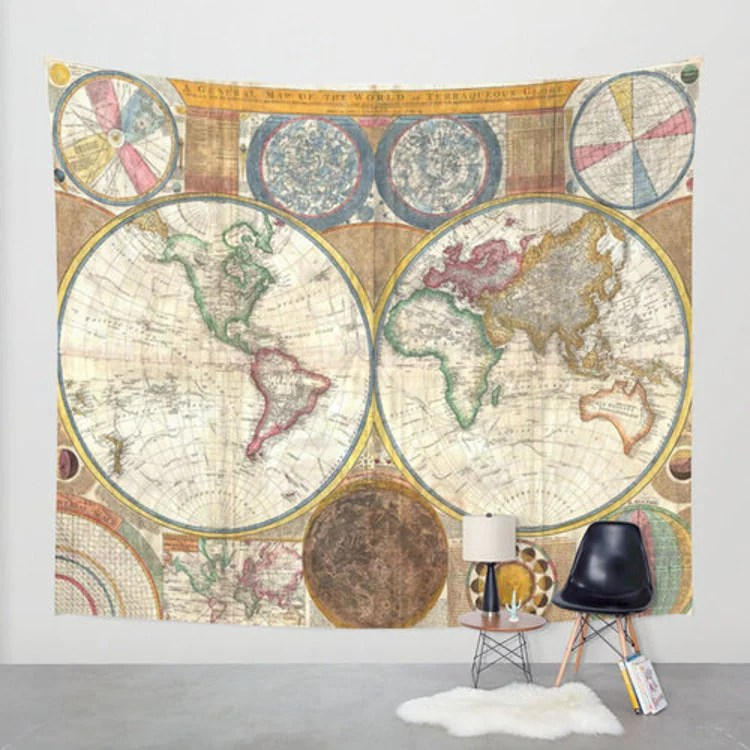 Best Old World Map Wall Tapestry Home Decor By Fromflorawithlove This Month