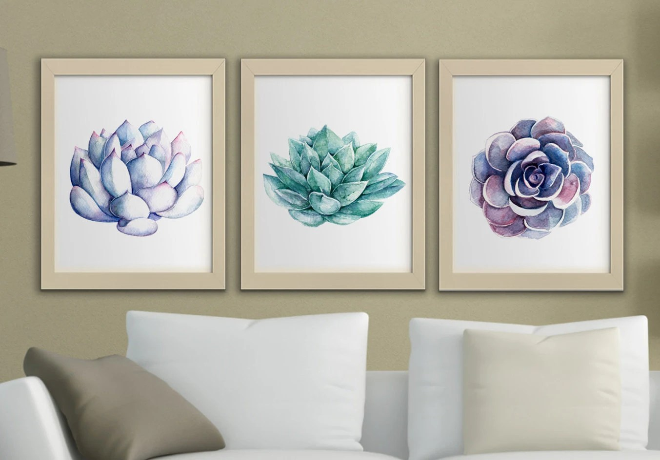 Best Succulents Printable Watercolor Wall Art Set Of 3 Succulent This Month