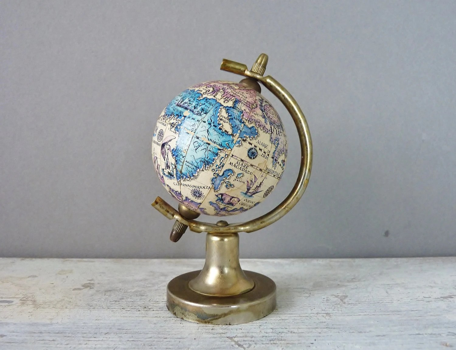Best Vintage Mini Decorative World Globe Earth Spinning Metal This Month