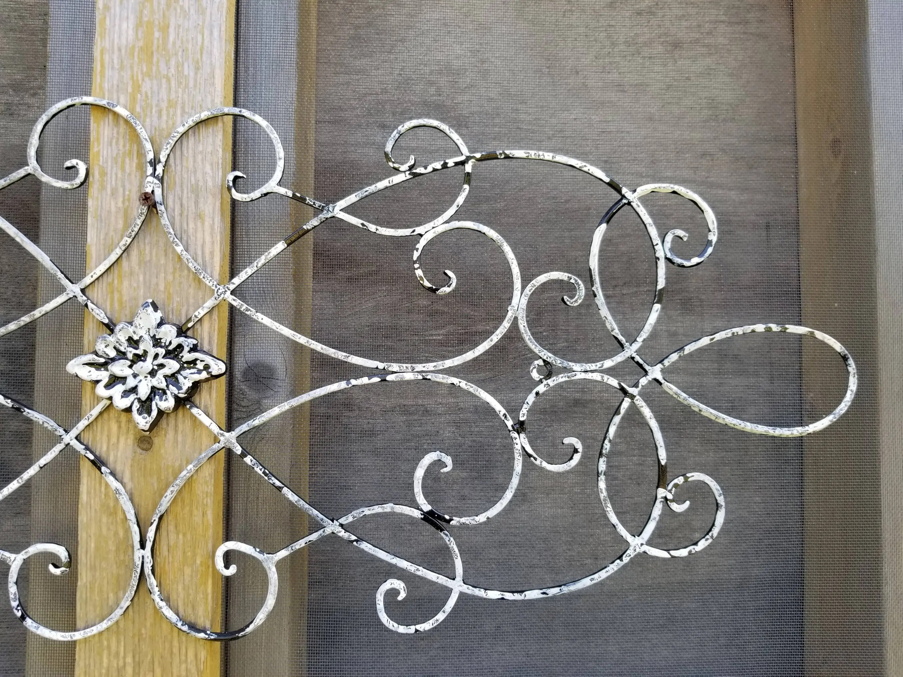 Best Distressed White And Black Large Metal Wrought Iron Wall Art This Month