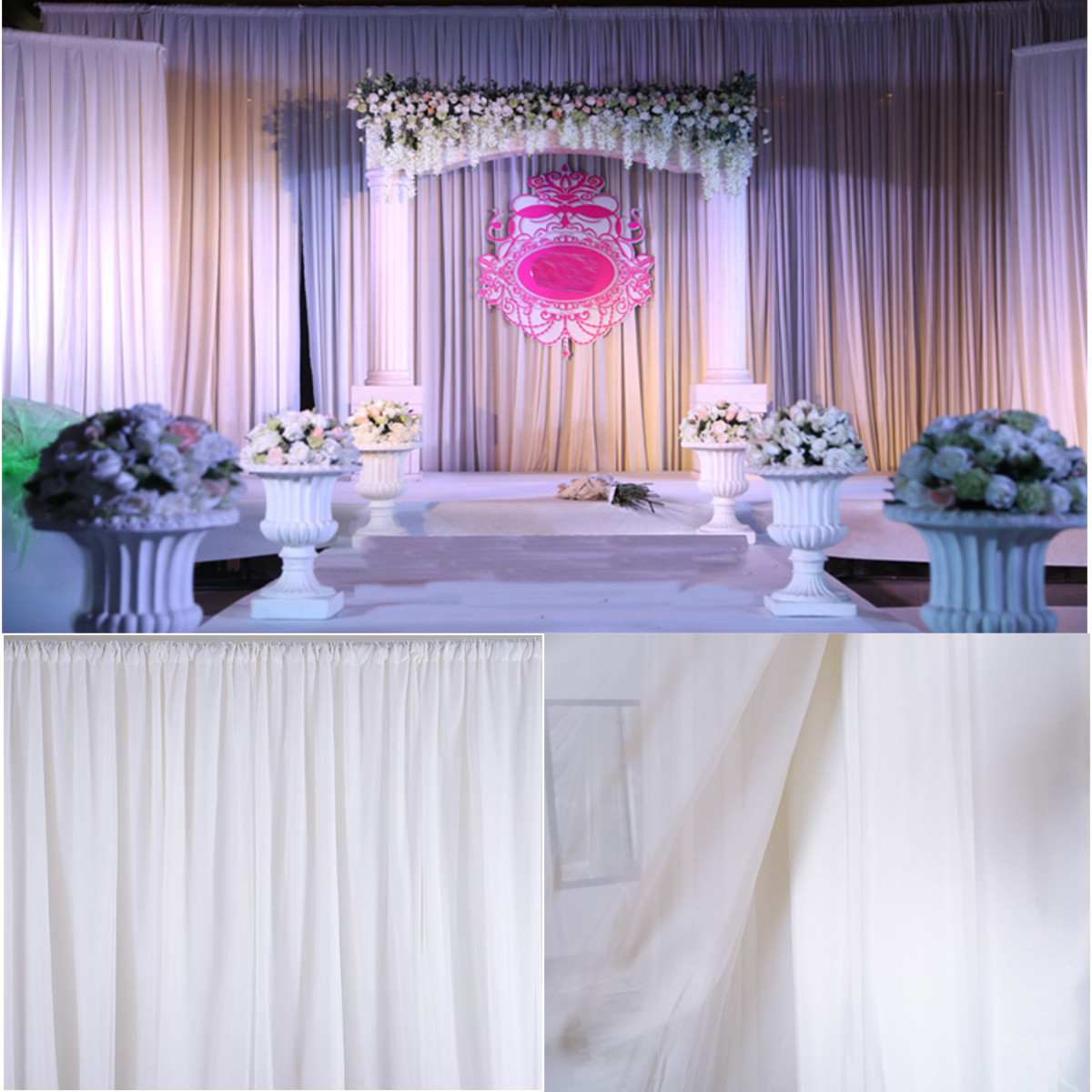 Best White Sheer Silk Drapes Panels Hanging Curtains Backdrop This Month