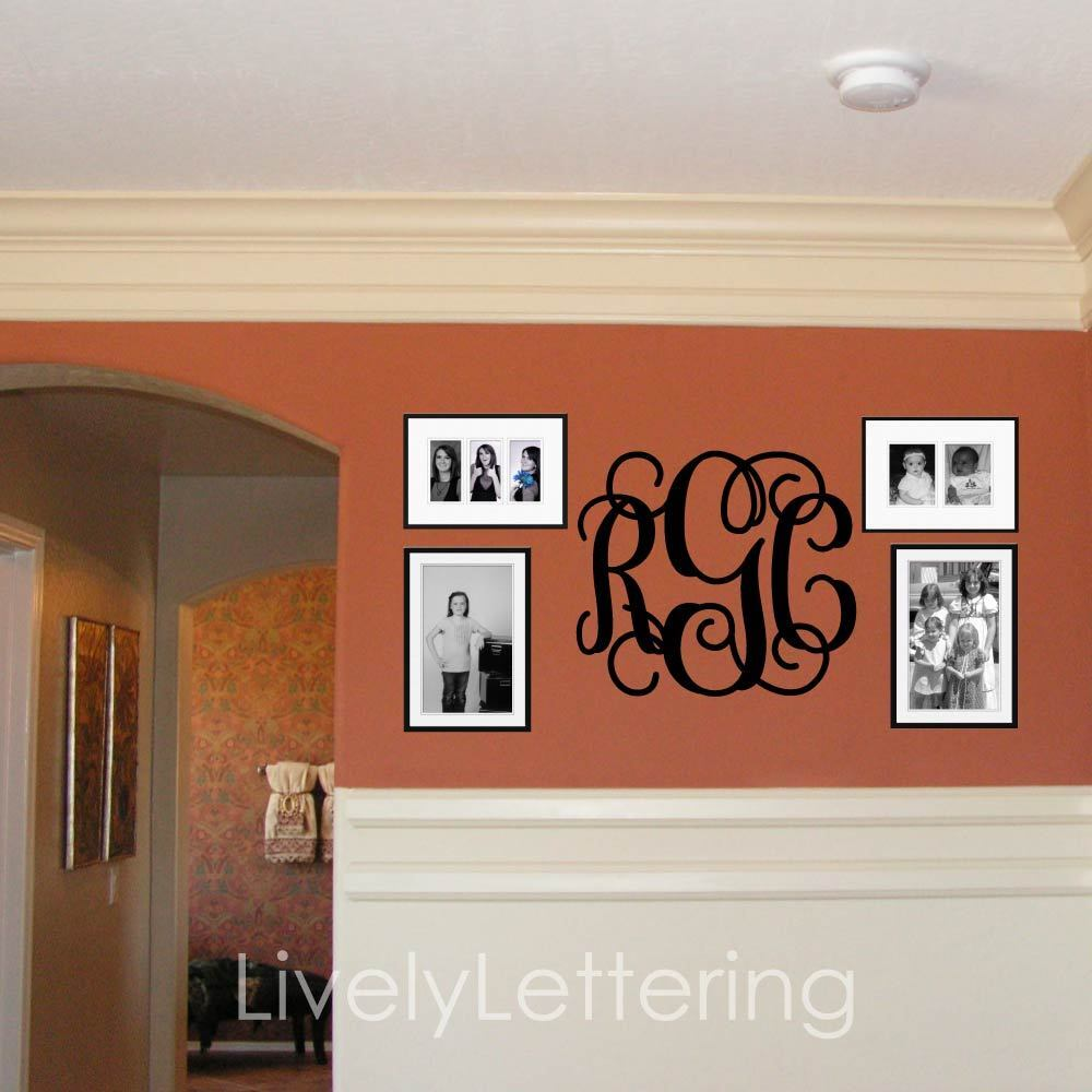 Best 18X21 Monogram Wall Decal Custom Initials Vinyl Wall This Month