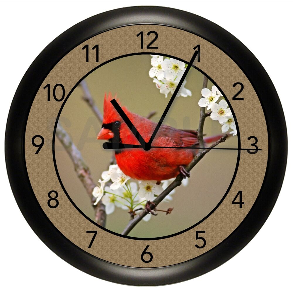 Best Beautiful Red Male Cardinal Wall Clock Kitchen Decor Gift This Month