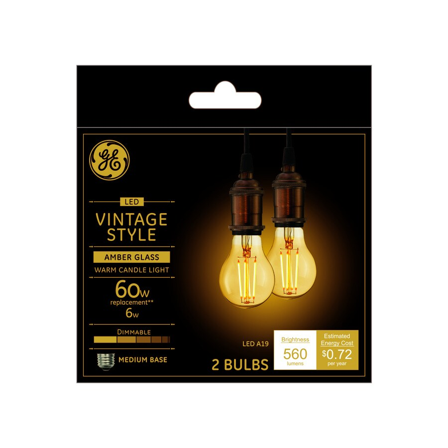 Best Ge Vintage 60 Watt Eq A19 Warm Candle Light Dimmable This Month