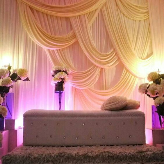 Best Modern Fabric Draped Head Table Decor For A Wedding This Month