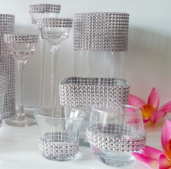 Best Silver Bling Weddings Decor Set Vases Candle Holders This Month