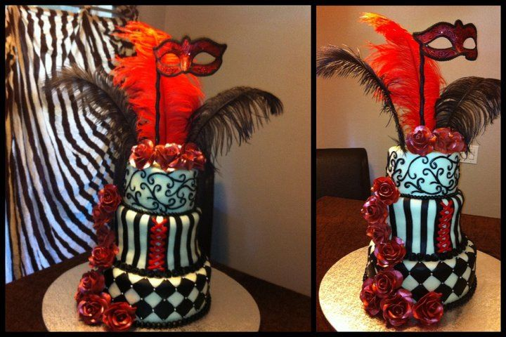 Best Sweet 16 Masquerade Ball Cake Red Black And White This Month