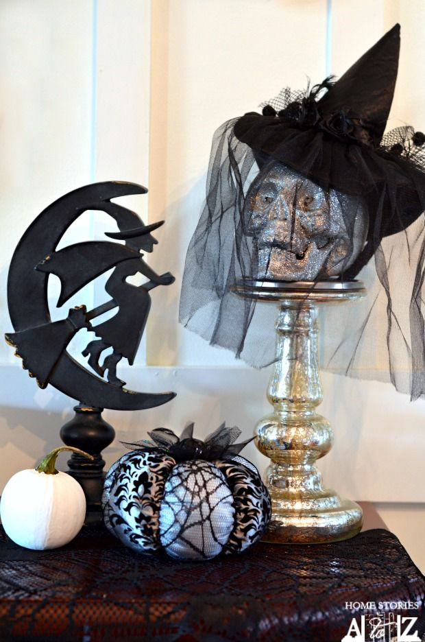 Best Witch Halloween Mantel Tutorial Pedestal Un And Glitter This Month