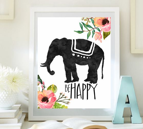 Best Inspirational Art Elephant Print Be Happy Print T**N Room This Month