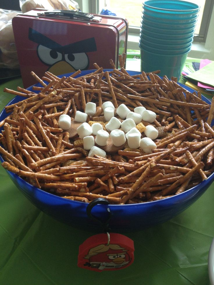 Best Angry Bird Party Food Bird Food Chez Mix With Pretzel This Month