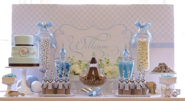 Best Baby Blue White And A Contrast Of Taupe Baptism Party This Month